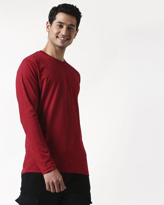 Shop Cherry Red Full Sleeve T-Shirt-Back