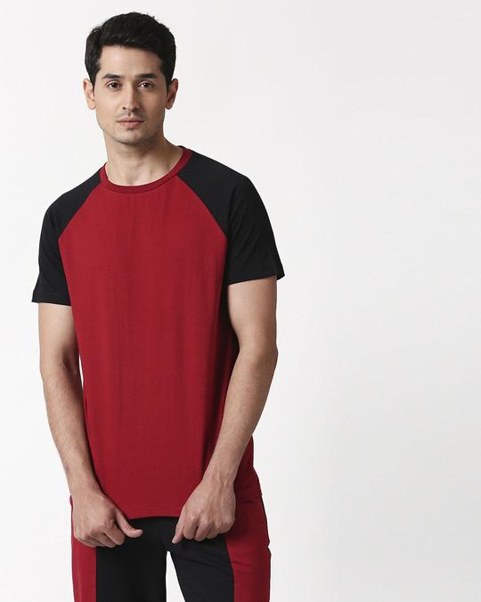 Shop Cherry Red Half Sleeve Raglan T-Shirt-Back