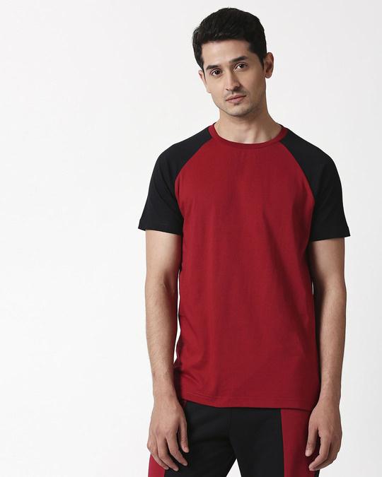 Shop Cherry Red Half Sleeve Raglan T-Shirt-Design