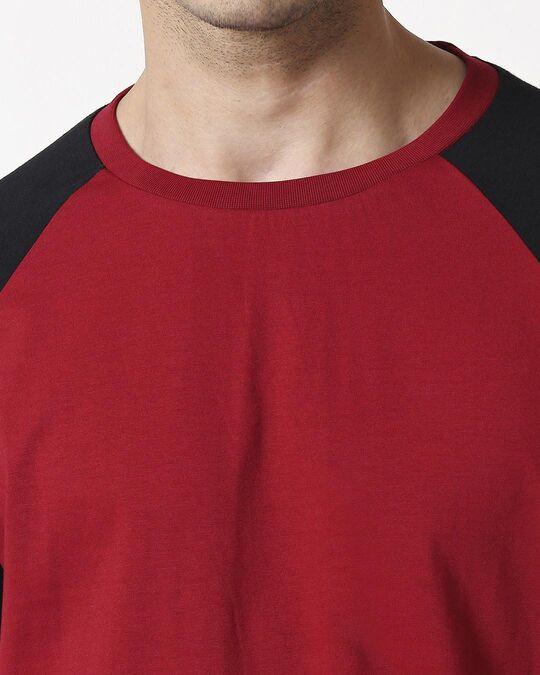 Shop Cherry Red Half Sleeve Raglan T-Shirt