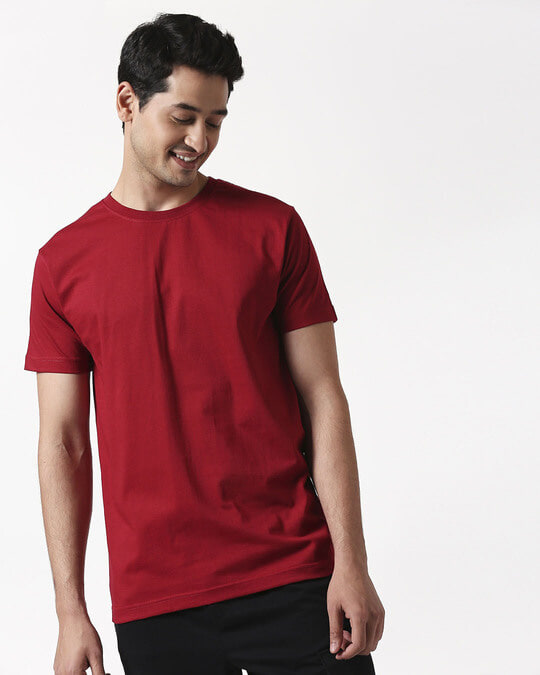 Shop Cherry Red Half Sleeve T-Shirt-Back