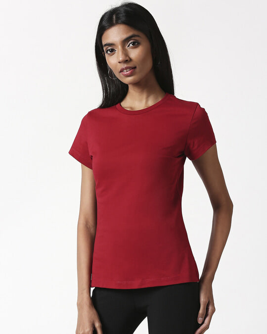 Shop Cherry Red Half Sleeve T-Shirt-Full