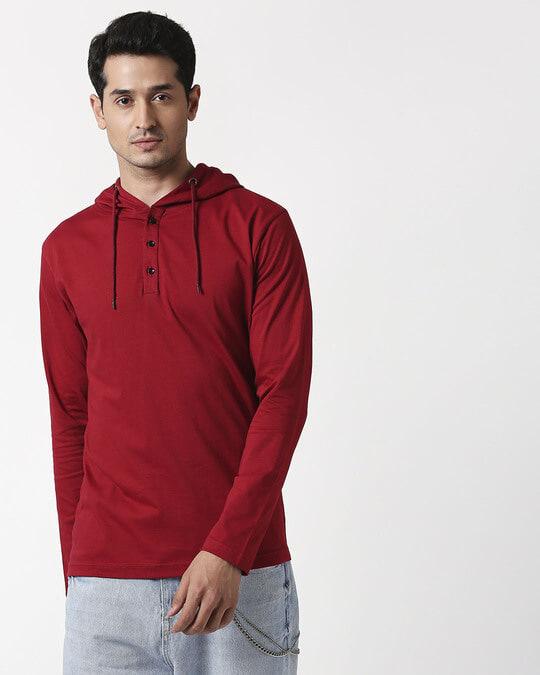 Shop Cherry Red Henley Hoodie T-Shirt-Design