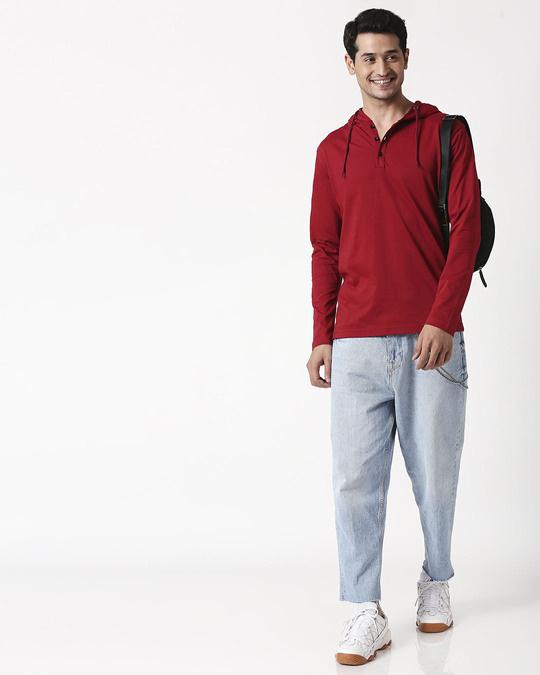 Shop Cherry Red Henley Hoodie T-Shirt