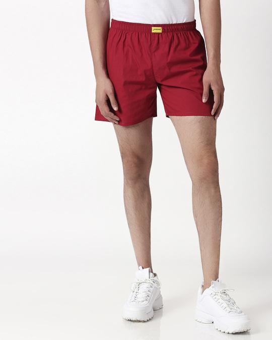 Shop Cherry Red Plain Boxer-Design