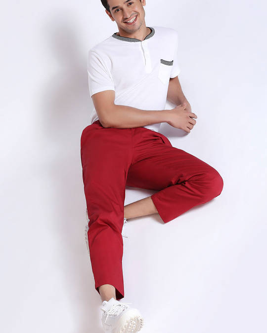 Shop Cherry Red Plain Pyjama-Front
