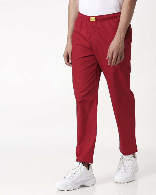 Shop Cherry Red Plain Pyjama-Full