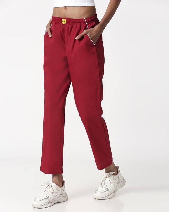 Shop Cherry Red Plain Pyjama-Full