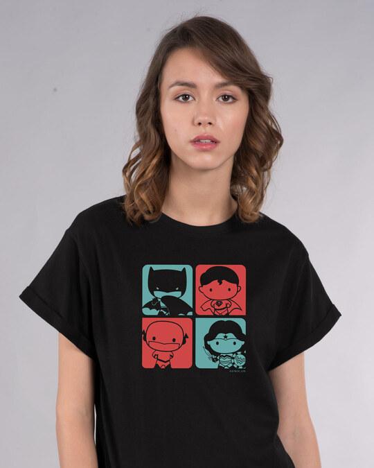 Shop Chibi Justice Boyfriend T-Shirt (DCL)-Front