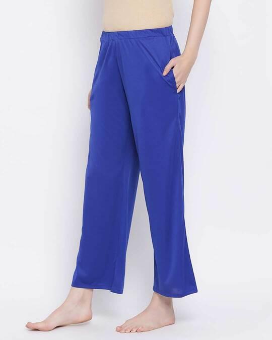 Shop Clovia Chic Basic Pyjama in Blue-Back