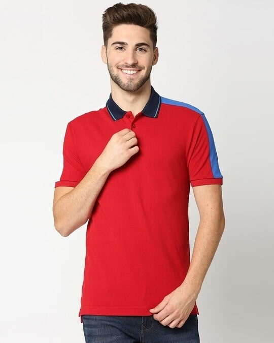 Shop Chili Pepper Contrast Shoulder Cut & Sew Polo-Back
