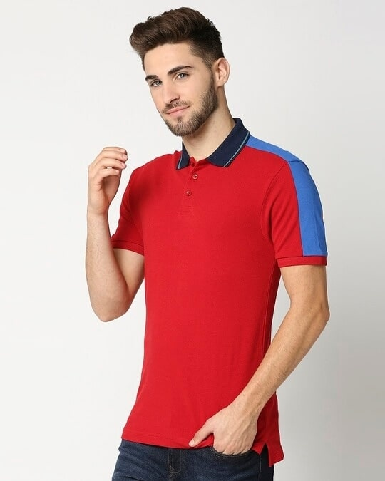 Shop Chili Pepper Contrast Shoulder Cut & Sew Polo-Design