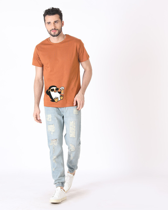 Shop Chillax Penguin Half Sleeve T-Shirt