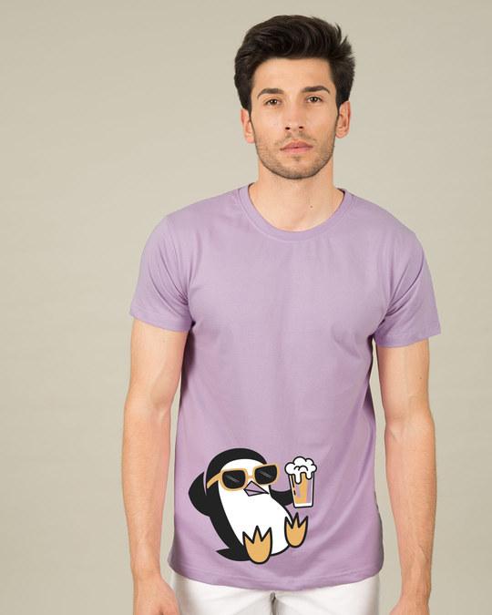 Shop Chillax Penguin Half Sleeve T-Shirt-Back