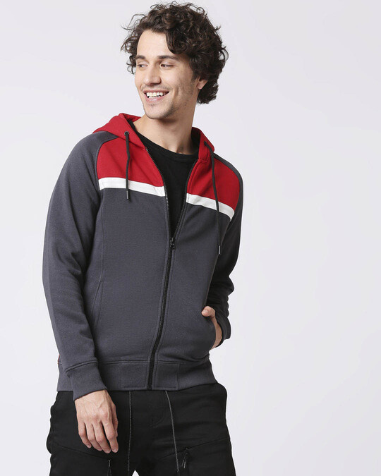 Shop Iron Gate - Chili Red Chest Stripe Zipper Hoodie-Front