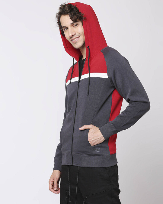 Shop Iron Gate - Chili Red Chest Stripe Zipper Hoodie-Back