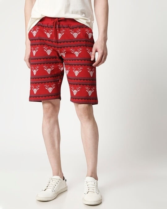 Shop Men Reindeer All Over Printed Red Shorts-Front