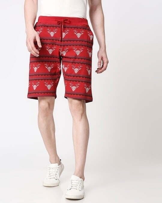 Shop Men Reindeer All Over Printed Red Shorts-Back