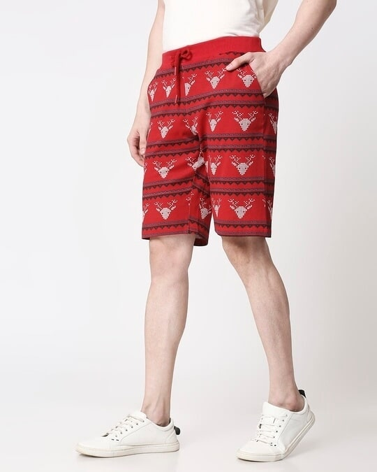Shop Men Reindeer All Over Printed Red Shorts-Design