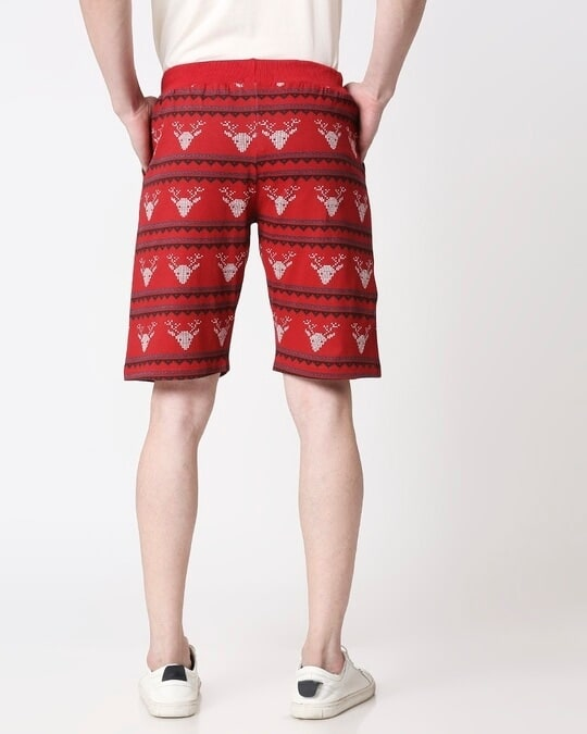 Shop Men Reindeer All Over Printed Red Shorts-Full