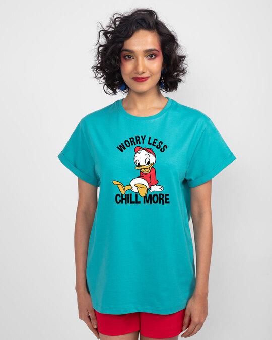 Shop Chilling Duck Boyfriend T-Shirt (DL) Tropical Blue-Front
