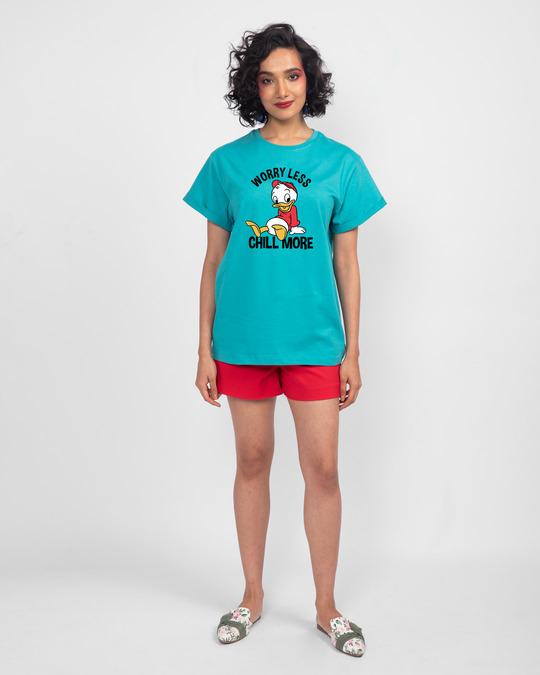 Shop Chilling Duck Boyfriend T-Shirt (DL) Tropical Blue-Design