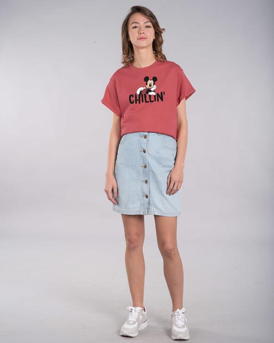 Shop Chilling Mickey Boyfriend T-Shirt (DL)-Full