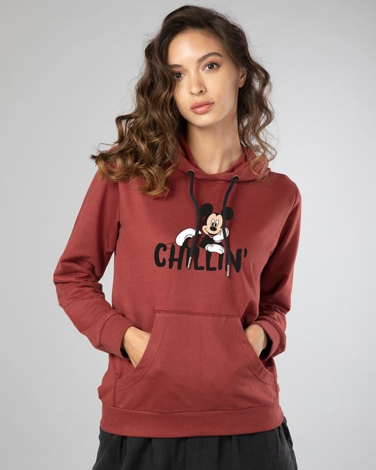 Shop Chilling Mickey Fleece Hoodies (DL)-Front