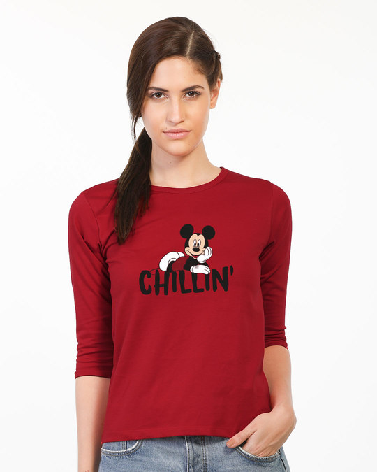 Shop Chilling Mickey Round Neck 3/4th Sleeve T-Shirt (DL)-Front