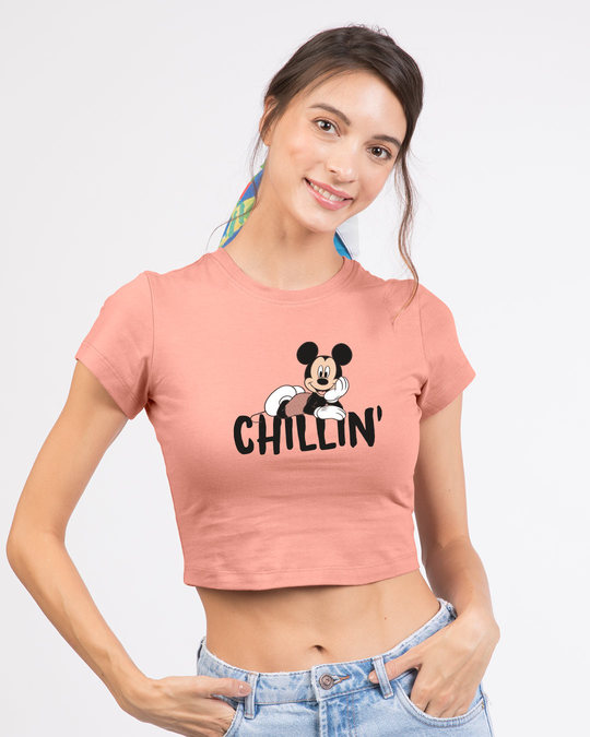 Shop Chilling Mickey Round Neck Crop Top (DL)-Front