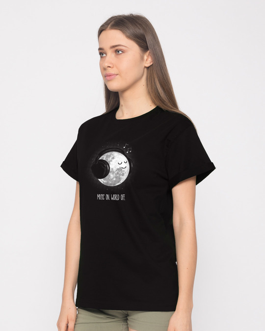 Shop Chilling Moon Boyfriend T-Shirt-Back