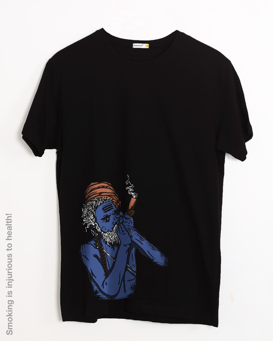 Shop Chillum Baba Half Sleeve T-Shirt-Front
