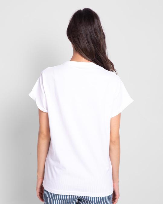 Shop Cholay Boyfriend T-Shirt White-Back