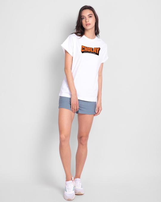 Shop Cholay Boyfriend T-Shirt White-Design