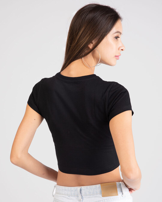 Shop Choose Happiness Round Neck Crop Top T-Shirt-Back