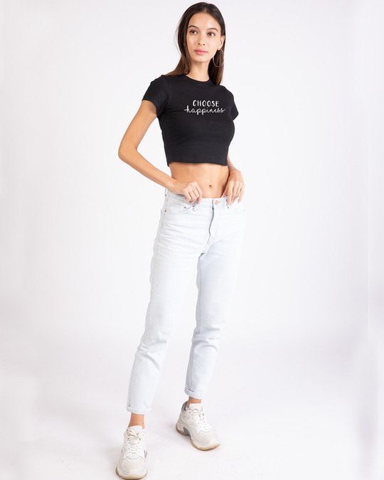 Shop Choose Happiness Round Neck Crop Top T-Shirt-Design