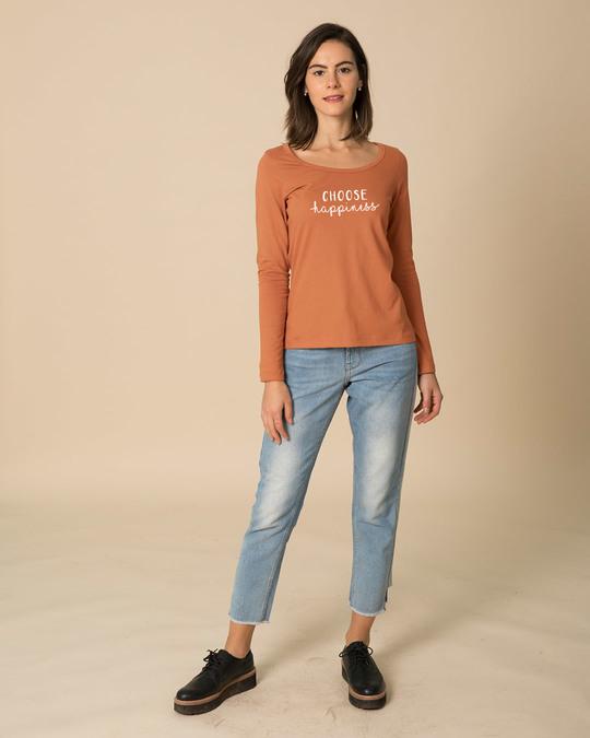 Shop Choose Happiness Scoop Neck Full Sleeve T-Shirt-Design