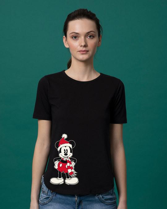 Shop Christmas Mickey Basic Round Hem T-Shirt (DL)-Front