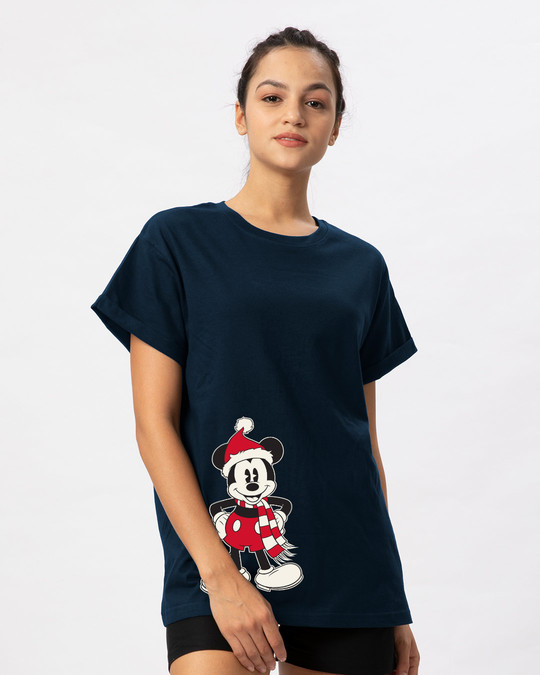 Shop Christmas Mickey Boyfriend T-Shirt (DL)-Back