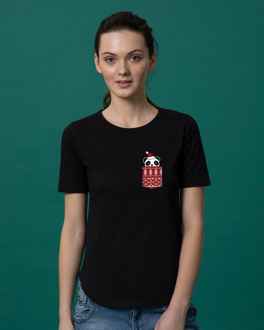 Shop Christmas Panda Basic Round Hem T-Shirt-Back