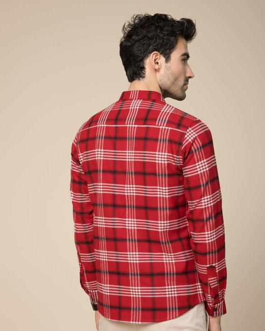 Shop Christmas Red Checked Slim Fit Shirt-Full