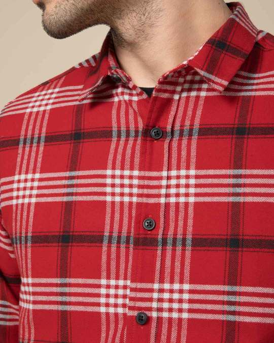 Shop Christmas Red Checked Slim Fit Shirt
