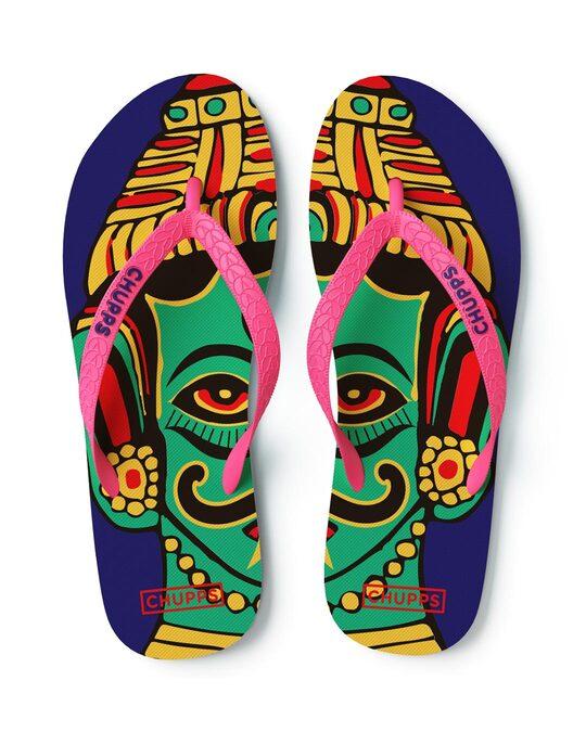 Shop Women's Nazarbattu Navy Blue Flip Flops-Back