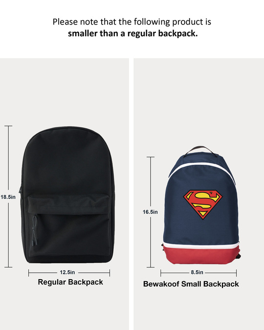 Shop Classic Superman Logo Printed Small Backpack (SML)-Back
