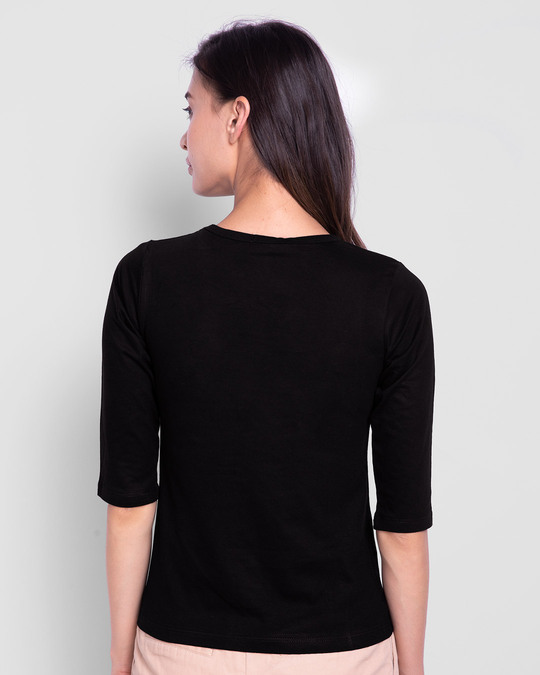 Shop Classic Tj Logo Printed Round Neck 3/4th Sleeve T-Shirt (TJL) Black-Back