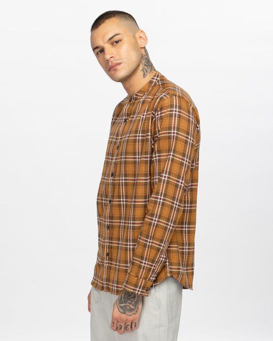Shop Clay Mustard Mandarin Collar Shirt-Back