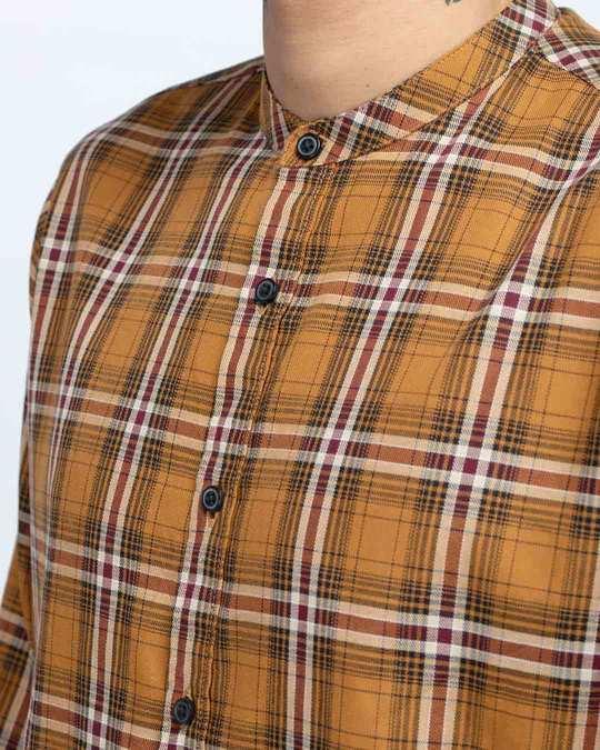 Shop Clay Mustard Mandarin Collar Shirt