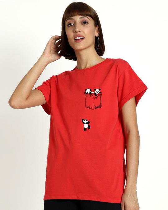 Shop Climbing pocket panda Boyfriend T-Shirts-Front