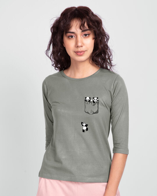 Shop Climbing pocket panda Round Neck 3/4 Sleeve T-Shirts Meteor Grey-Back
