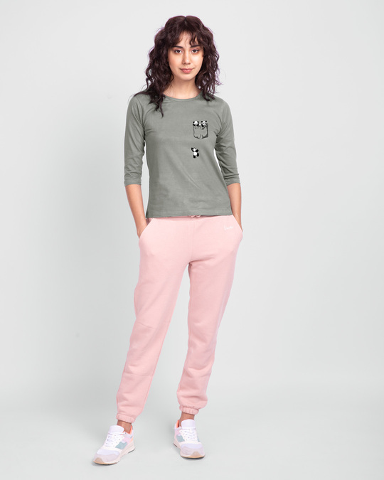 Shop Climbing pocket panda Round Neck 3/4 Sleeve T-Shirts Meteor Grey-Full